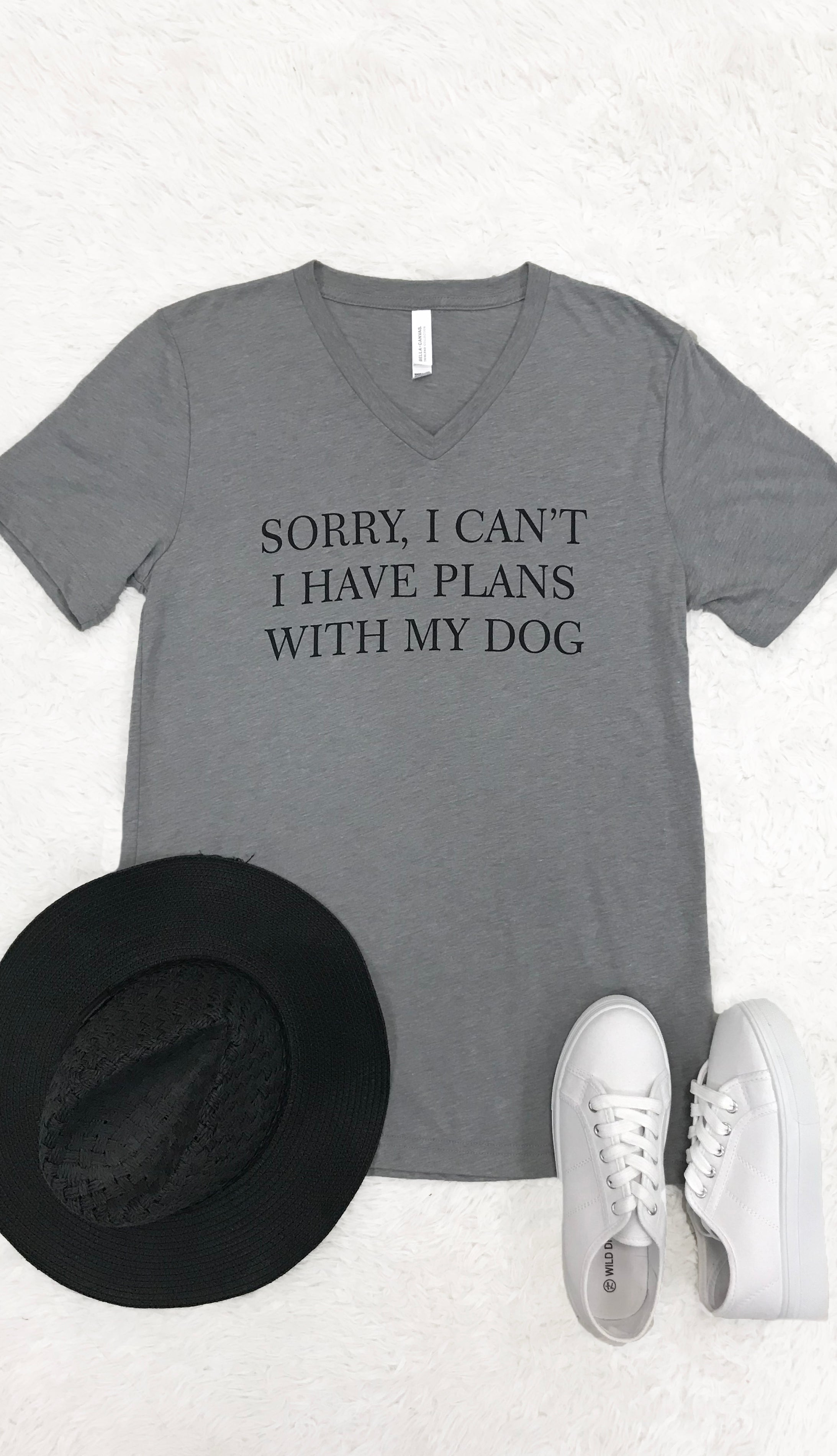 Plans With Dog Tee- Grey
