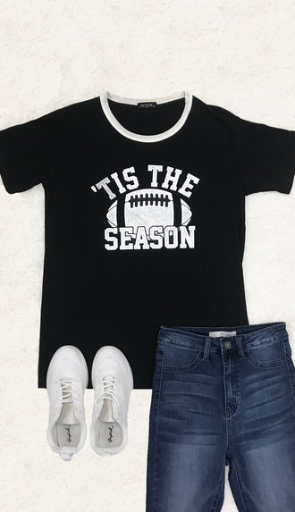 Tis The Season Tee- Black/White