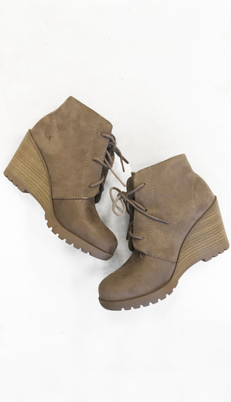 Wedge Ankle Booties- Warm Taupe