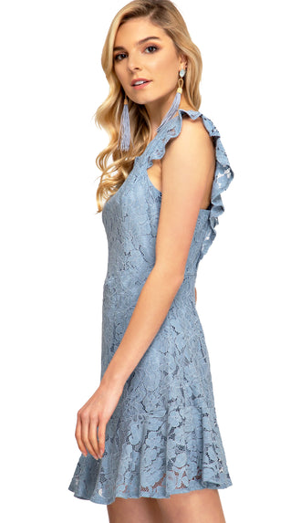 Give Me Grace Lace Dress- Dusty Blue