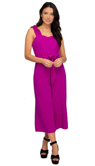 Girly Girl Ruffled Strap Jumpsuit- Magenta