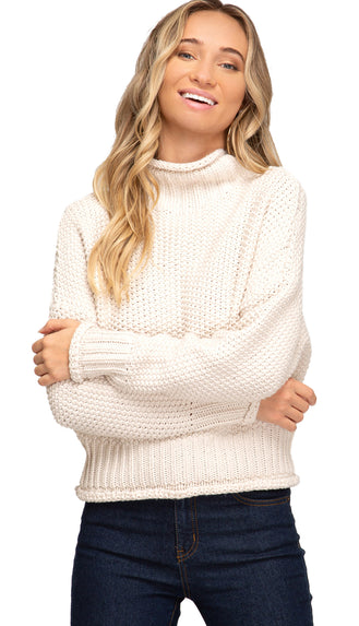 Picture This Turtle Neck Sweater- Cream