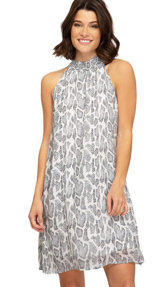 Eyes On You Snake Printed Dress- Grey