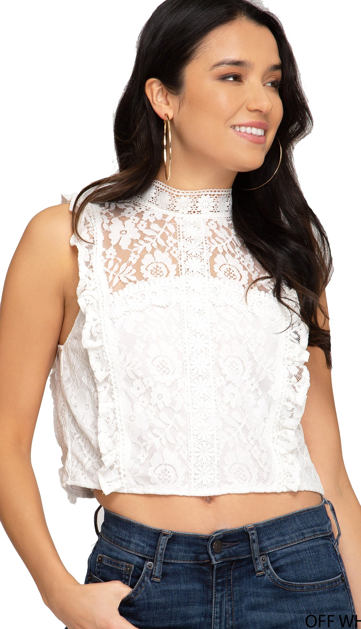 Laced By Love Crop Top- White