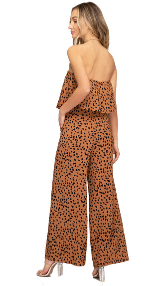 Dare To Be Strapless Wide Leg Jumpsuit- Cinnamon