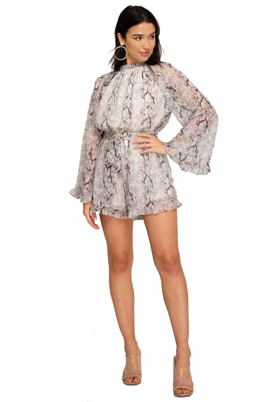 Saved By Grace Long Sleeve Romper- Grey