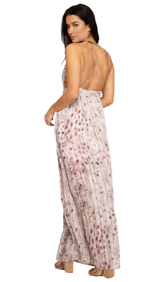 More Or Less Printed Maxi Dress- Pink