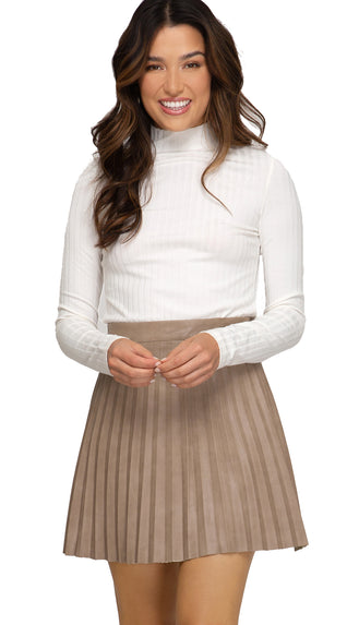 Pleated Leather Mini Skirt- Lt. Mocha