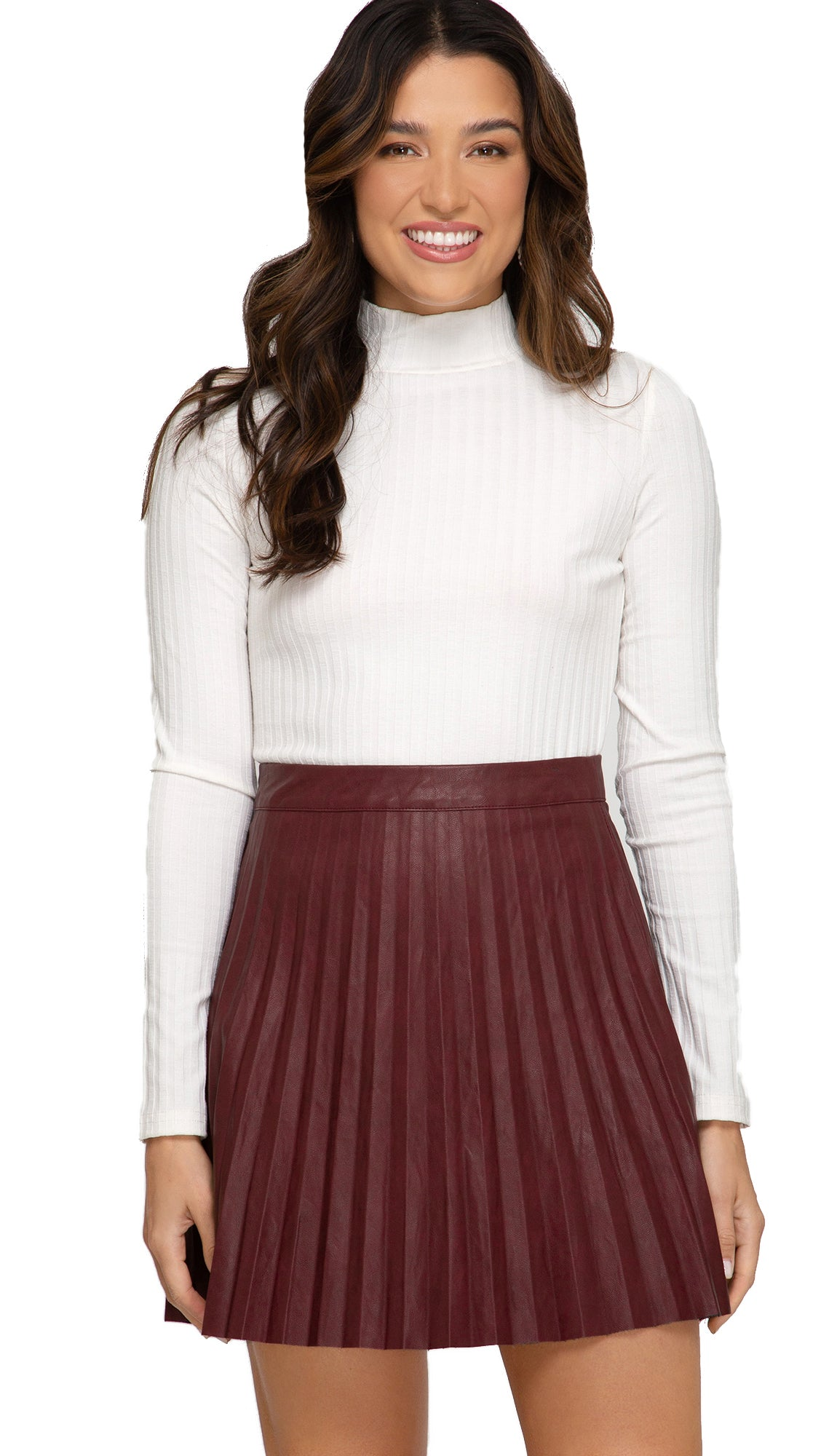 Pleated Leather Mini Skirt- Wine