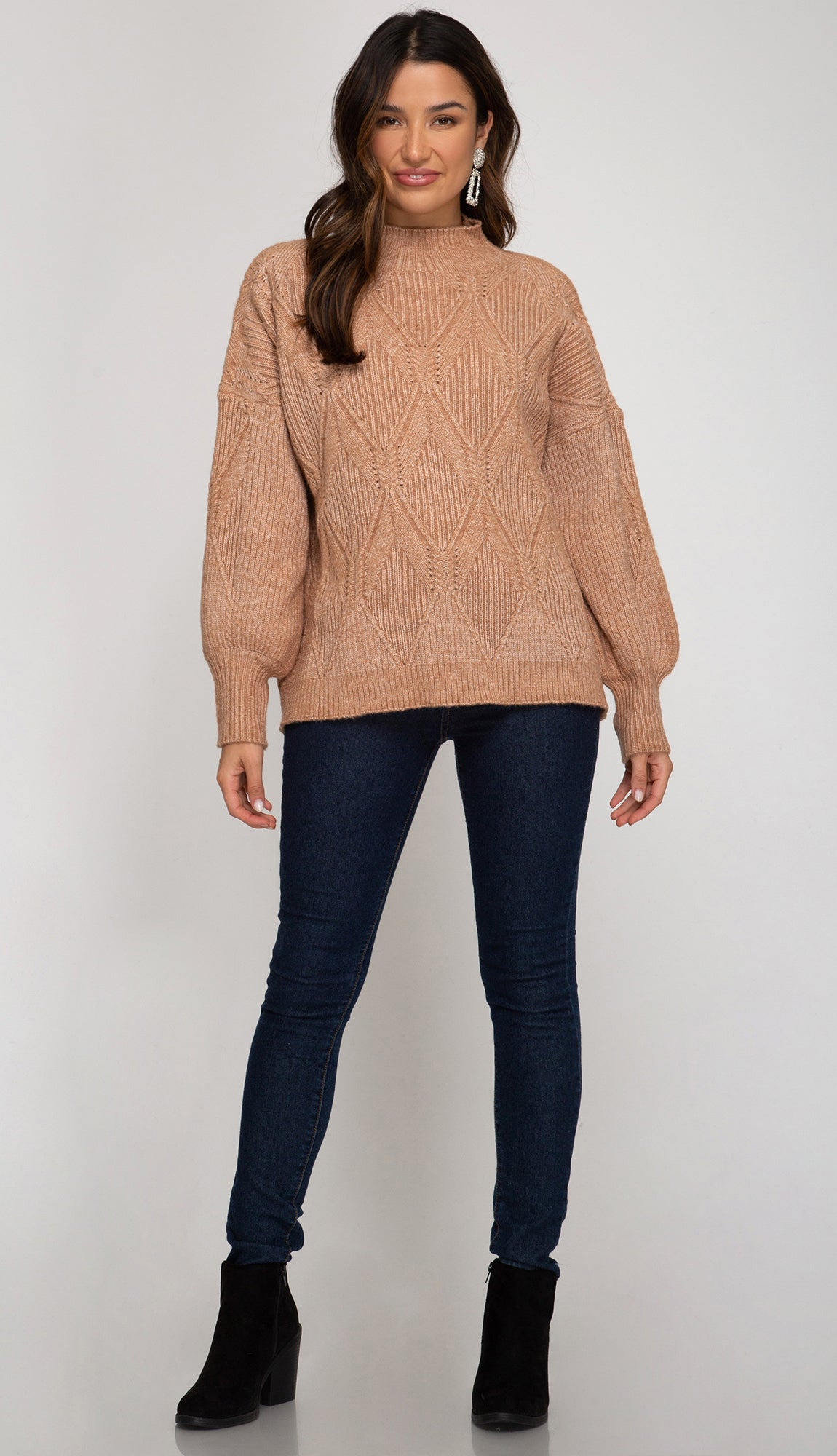 Friends And All Mock Neck Sweater- Light Cinnamon