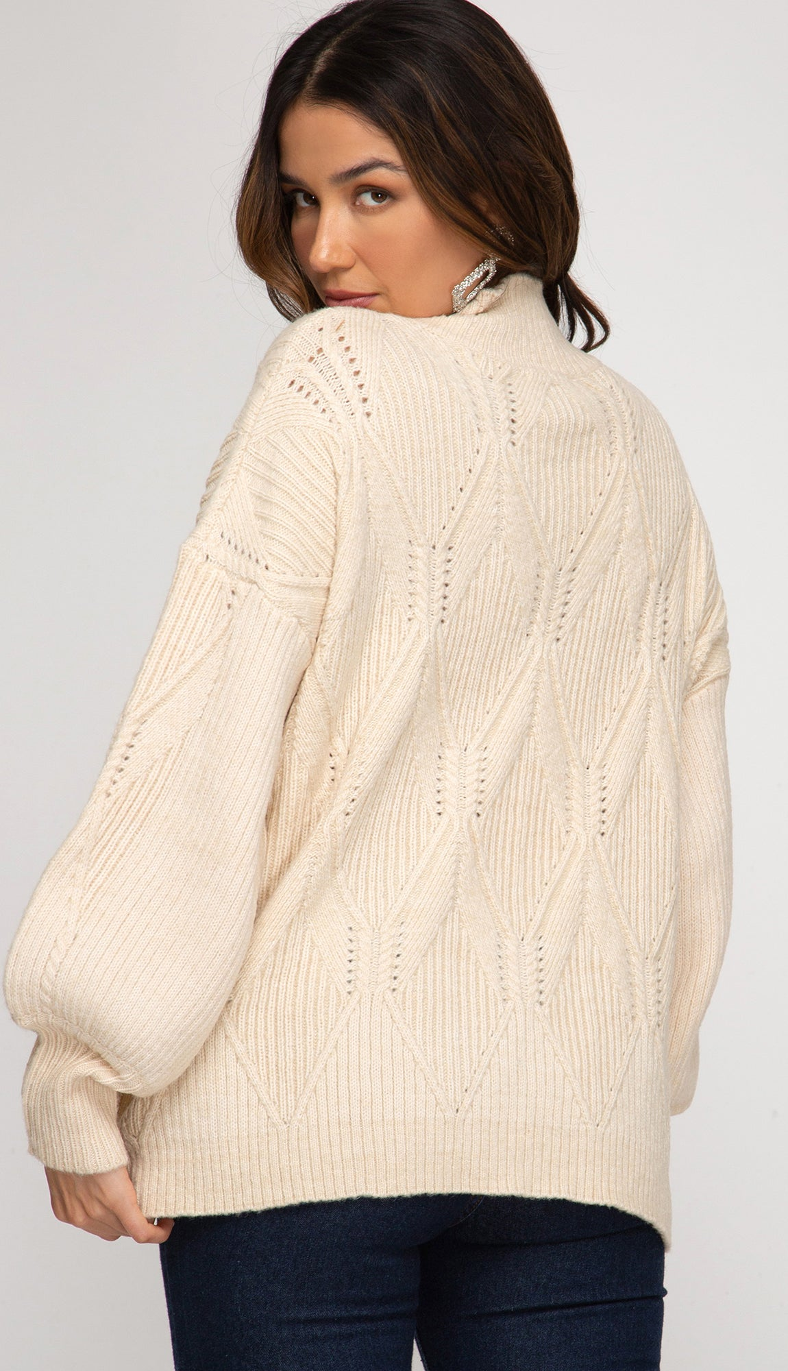 Friends And All Mock Neck Sweater- Ecru Ivory