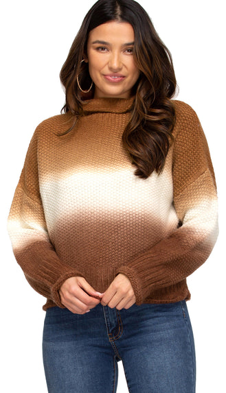 Picture This Dip Dyed Turtleneck Sweater- Cinnamon