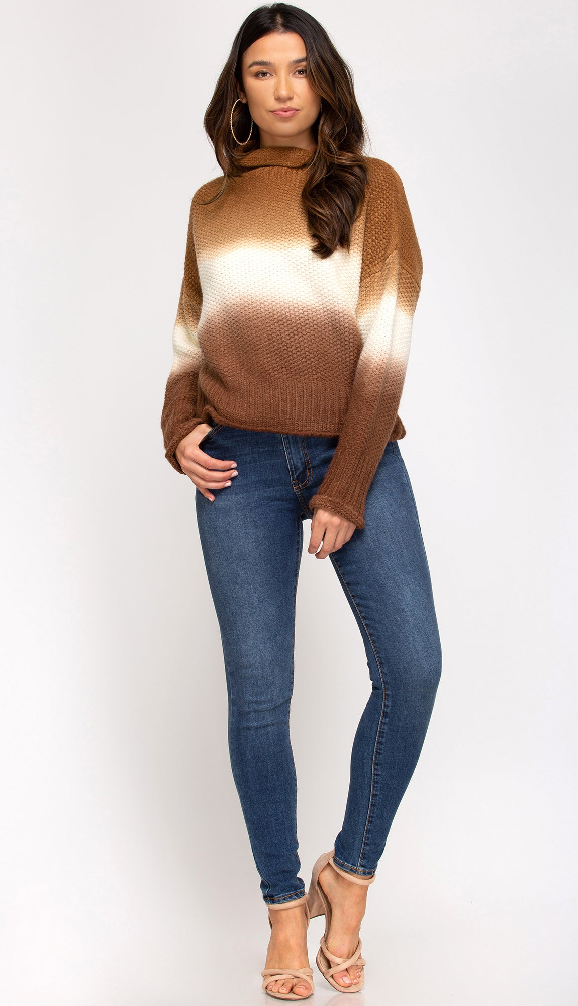Deep Sunset Dip Dyed Turtleneck Sweater- Cinnamon