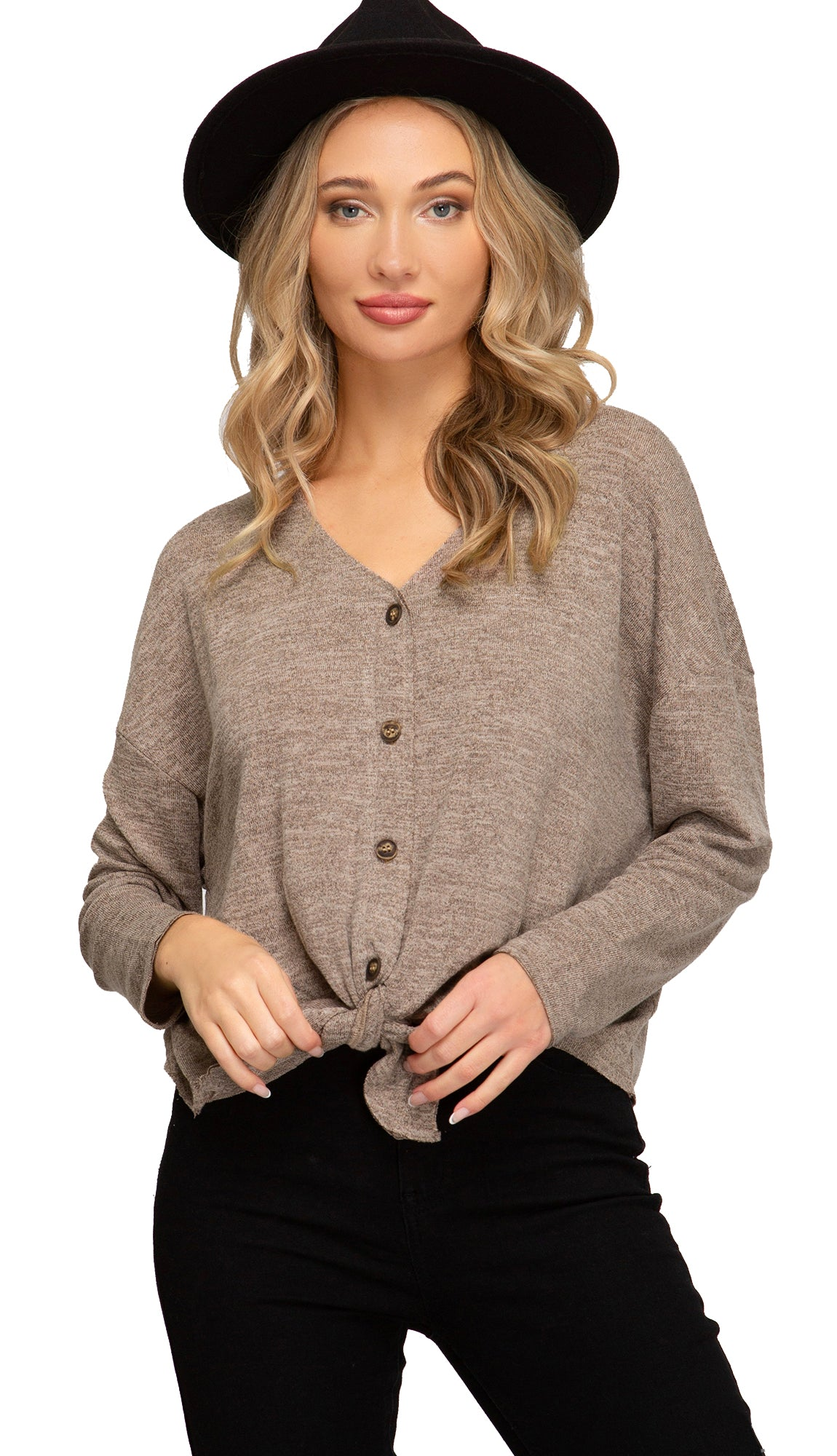 Again And Again Front Tie Top- Oatmeal