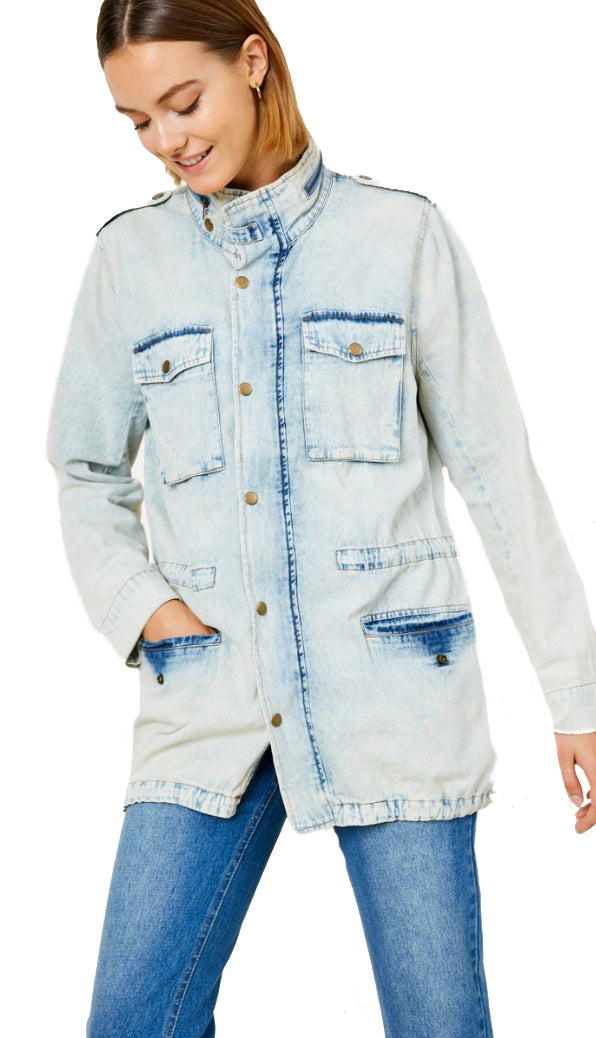 Drawstring Acid Wash Denim Jacket- Ice Denim