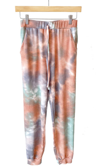 Color Me Happy Tie Dye Joggers- Marsala/Grey