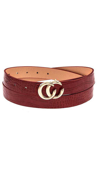 Semi Circle Double Link Belt- Burgundy