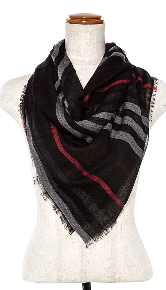 Lightweight Plaid Pattern Infinity Scarf- Black
