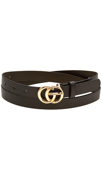 Dupe Faux Leather Belt- Black/Gold