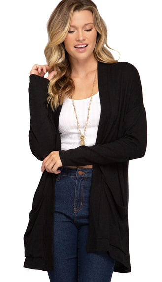 Soft Basic Pocket Cardigan- Black
