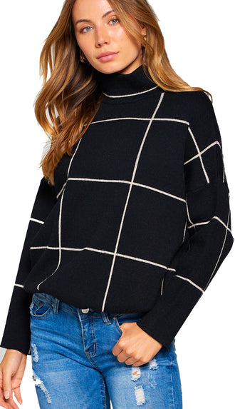 Simply Chic Grid Mock Neck Sweater- Black
