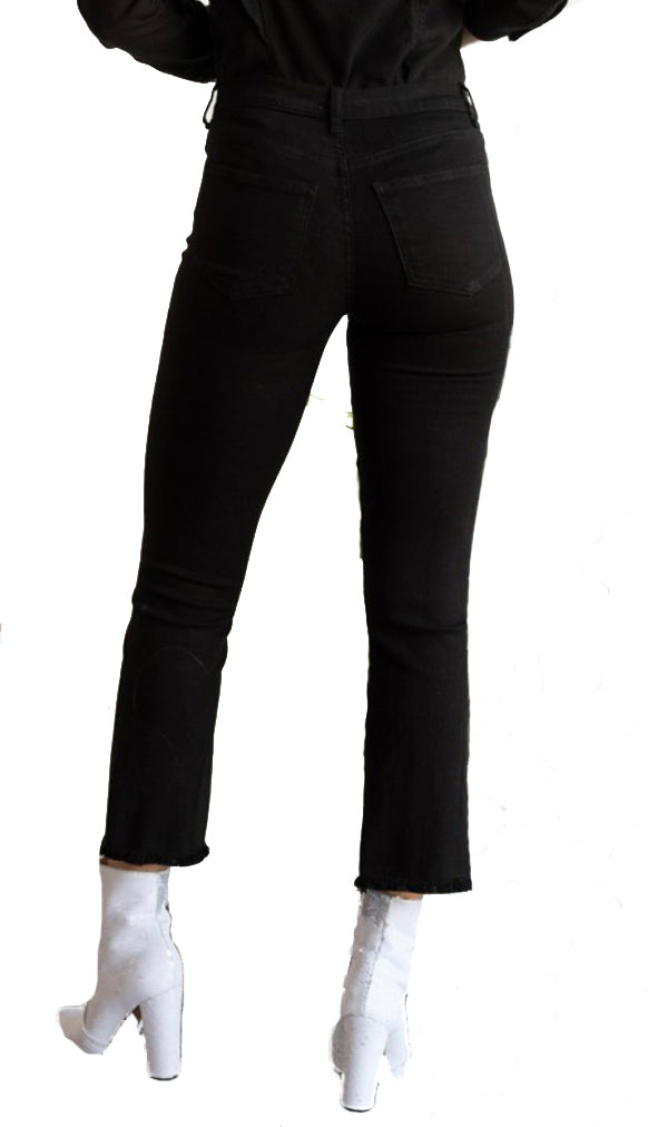 Raw Edge Flare Jeans- Black