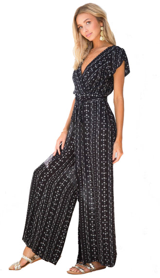 When In Morocco Flutter Sleeve Jumpsuit- Black