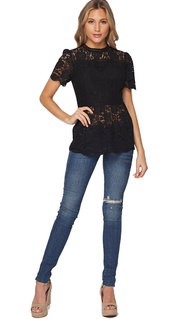 Wow Me Lace Top- Black
