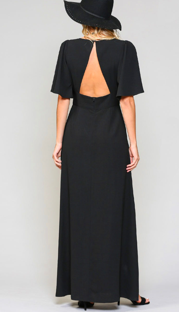 Easy Choice Maxi Wrap Dress- Black
