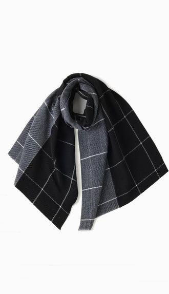 Two Tone Window Pane Oblong Scarf- Black