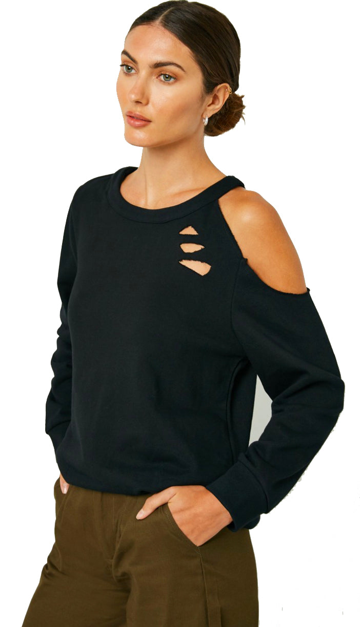 On Edge Distressed Sweater Top- Black