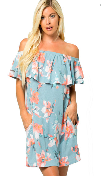 Marina Del Ray Off Shoulder Floral Dress- Blue