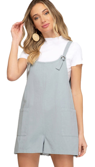 Twill Overall Romper- Misty Blue