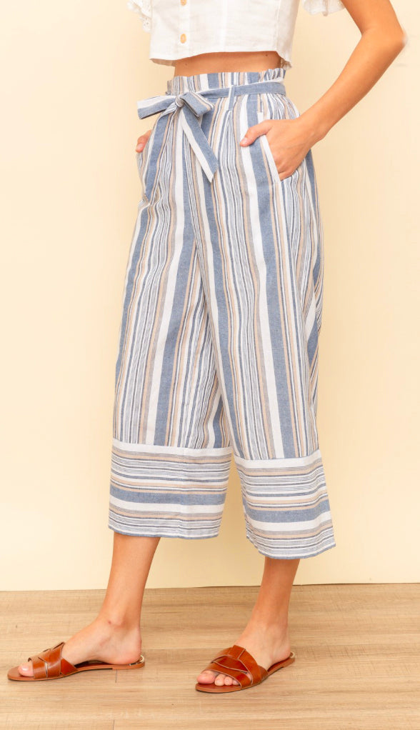 Beachside Stroll Stripe Crop Pants- Denim Blue
