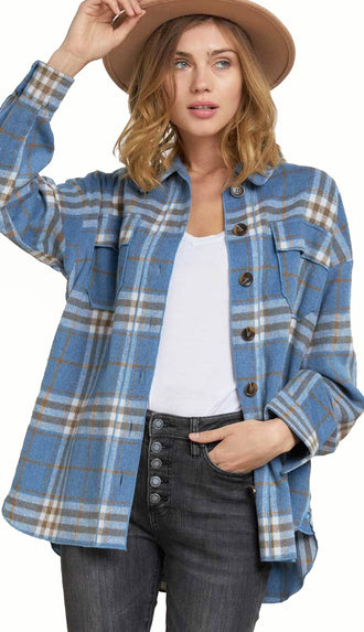 Timberline Oversized Plaid Button Down Shirt Jacket- Light Blue