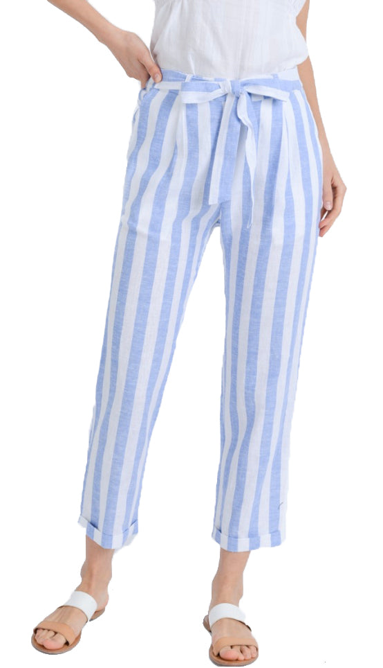 Linen Stripe Crop Pants- Light Blue