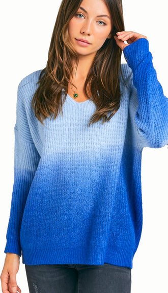Sky Deep Ombré Sweater- Blue