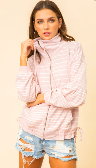 Oversized Cinched Hem Bubble Sleeve Zip Up- Mauve