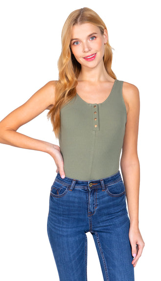 Snap Button Henley Bodysuit- Olive