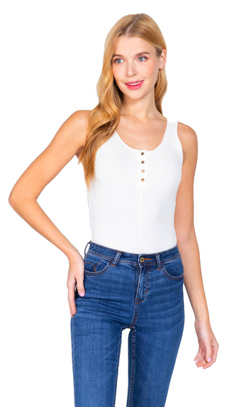 Snap Button Henley Bodysuit- Off White
