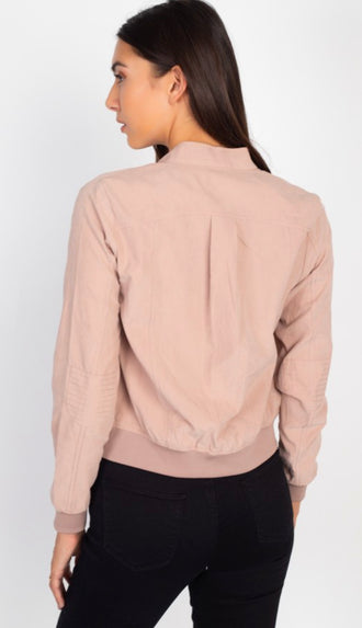 Season Essential Cuffed Hem Bomber Jacket- Blush