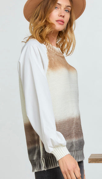 Caramel Latte Ombré Contrast Sleeve Sweater- Brown
