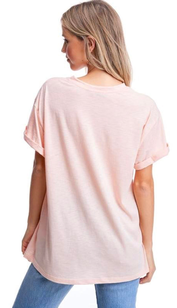 Brunette Graphic Tee- Peach