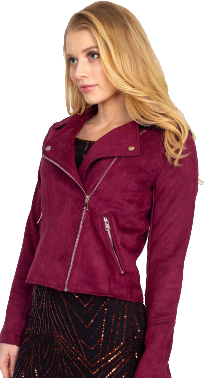 Suede Faux Moto Jacket-Burgundy