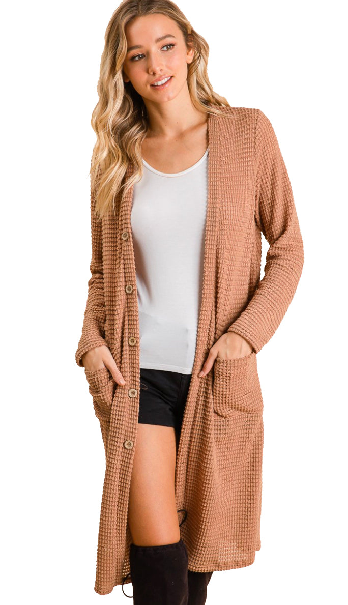 Inspire To Be Knit Waffle Button Cardigan