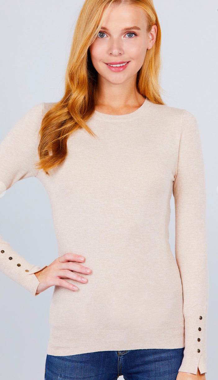 Metal Button Detail Lightweight Sweater