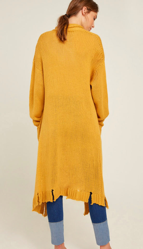 RESTOCK! All I Need Distressed Hem Duster Cardigan- Mustard