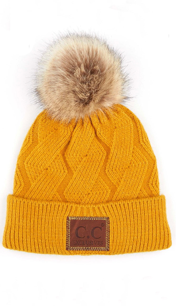 CC Fleece Lined Cable Beanie