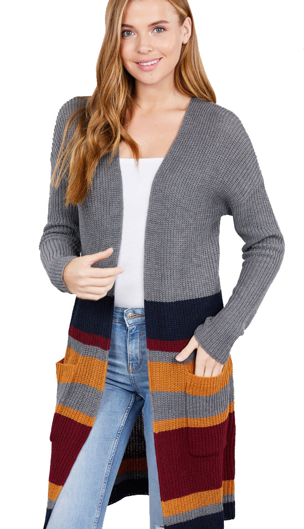 Picture Perfect Multi Stripe Cardigan- Charcoal