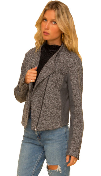 Asymmetrical Two Tone Moto Jacket- Charcoal
